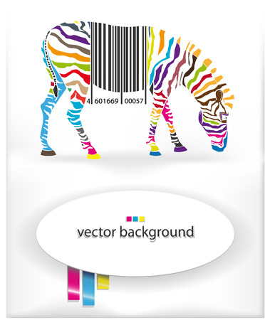The vector image of  Vector background with the image of a multi-colored zebra and a bar code 일러스트