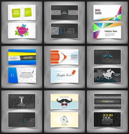The vector image of  Big set of vector creative business cards.