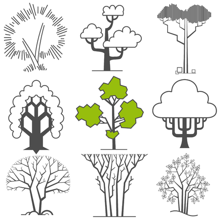 The vector image of Vector set of abstract trees 일러스트
