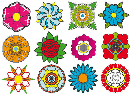 The vector image of Vector set of bright flowers 일러스트