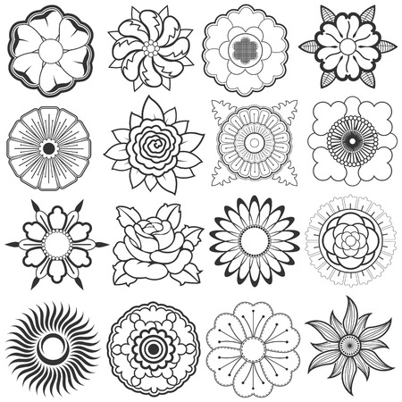 The vector image of Vector set of sketches of flowers for design