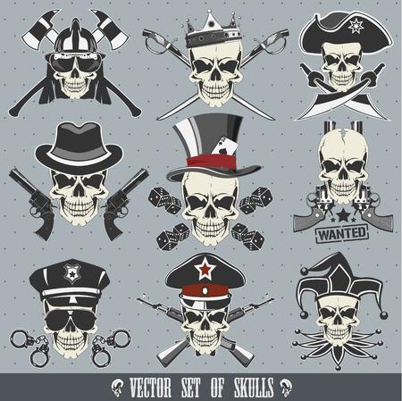 The vector image of Vector set of skulls
