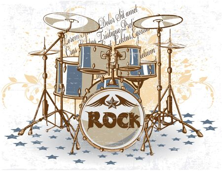 drum sticks: The vector image of Vintage Drums