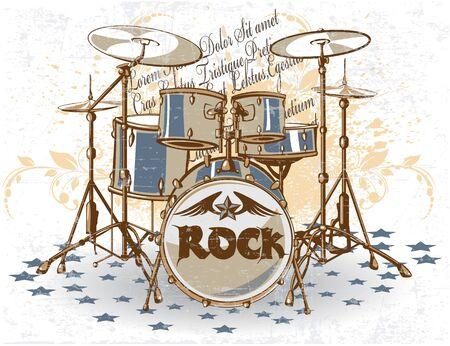 drums: The vector image of Vintage Drums