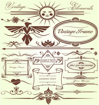 The vector image of Vintage Frameworks and elements 일러스트