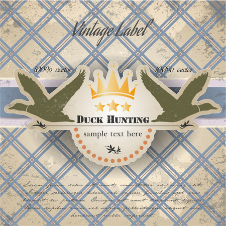 The vector image of vintage label with a picture of ducks