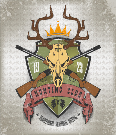 The vector image of Vintage label with the symbol of a hunting club