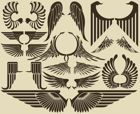 a wing: The vector image of  Wings tribal set