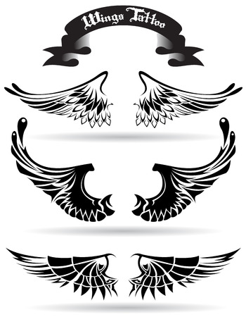 The vector image of  wings tattoo 일러스트