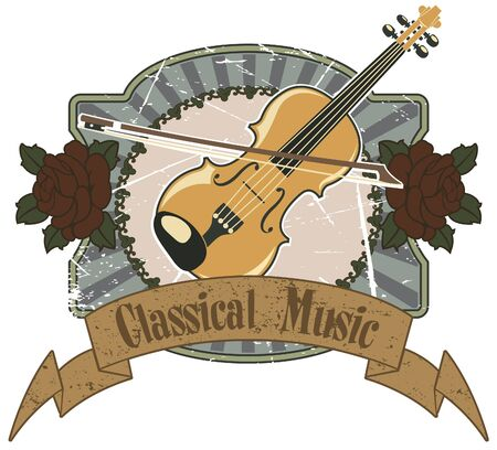 The vector image of  Violin and classical music