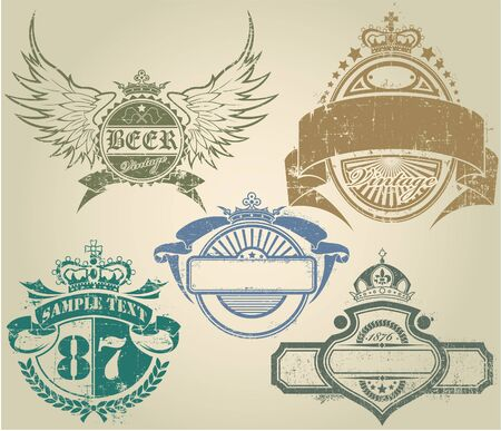 The vector image of Vintage Stamps Set 일러스트