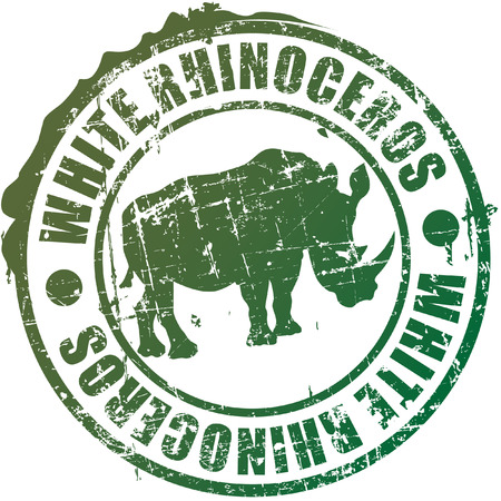 The vector image of White rhinoceros a stamp