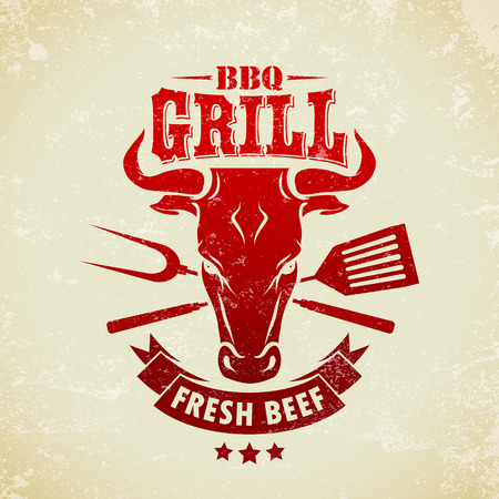 The vector image of  Vintage BBQ Grill Party Иллюстрация