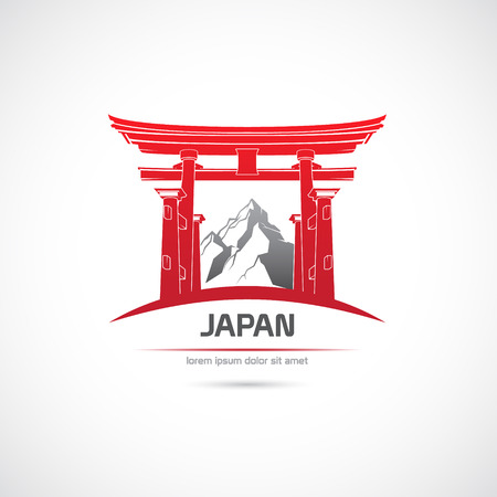 torii: The Vector image of Japan. Label with the gate and the mountains. Illustration