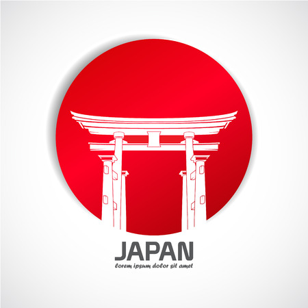 The Vector image of Japan. Label with the gate Ilustração