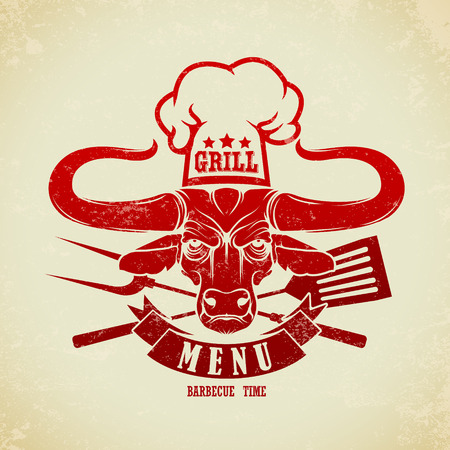 cow vector: The vector image of Vintage BBQ Grill Party Illustration