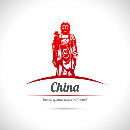 The vector image of Buddha statue in China.