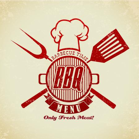 Die Vektor-Bild von Weinlese BBQ-Grill-Party