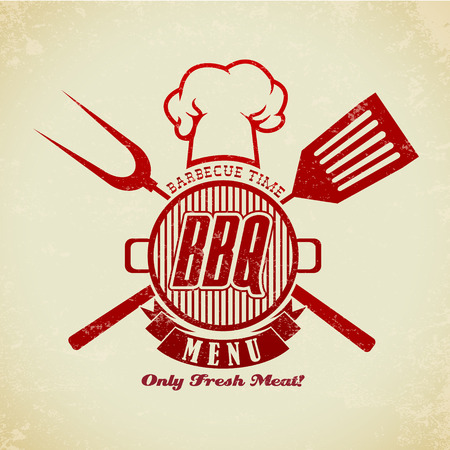steak grill: The Vector image of Vintage BBQ Grill Party