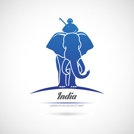 mammoth: The vector image of Label the elephant and rider. India.