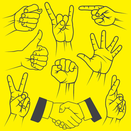 The vector image of A large set of hand gestures on a yellow background.