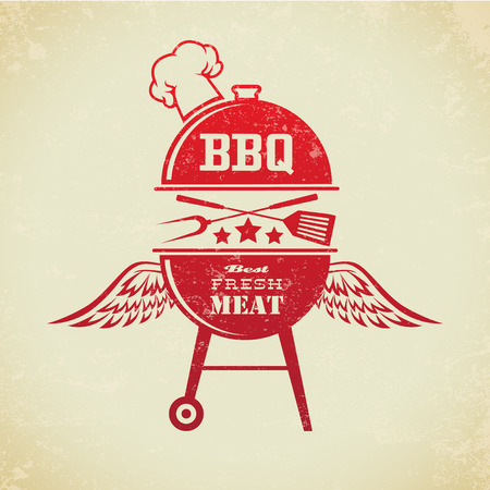 steak grill: The image of Set of Vintage BBQ Grill Party