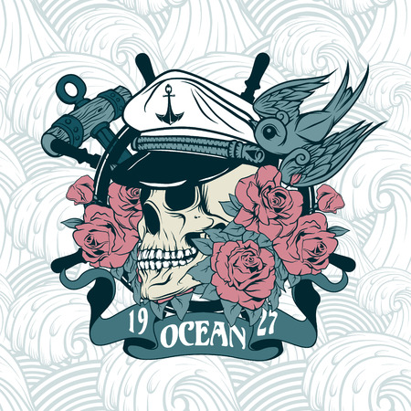 The image of Sticker on the shirt with a nautical theme. Vector.