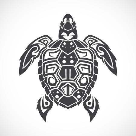 keltische muster: Das Bild der Schildkröte in einem Stammes auf einem weißen Hintergrund.