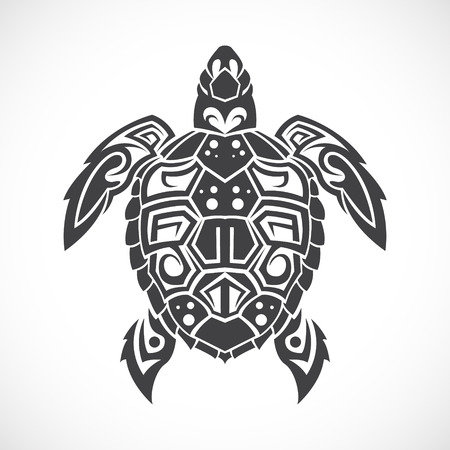 The image of Turtle in a tribal on a white background.