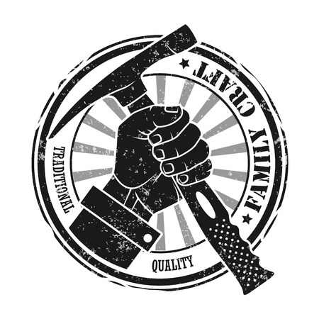 carpentry cartoon: The image of Stamp with a hand holding a hammer. Family craft.