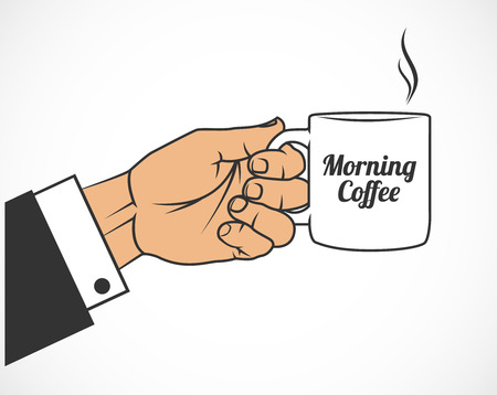 The image of Hand with mug. Morning coffee. 일러스트