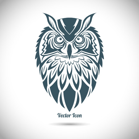 owl symbol: The image of Owl in the ornamental style. Tribal. Illustration