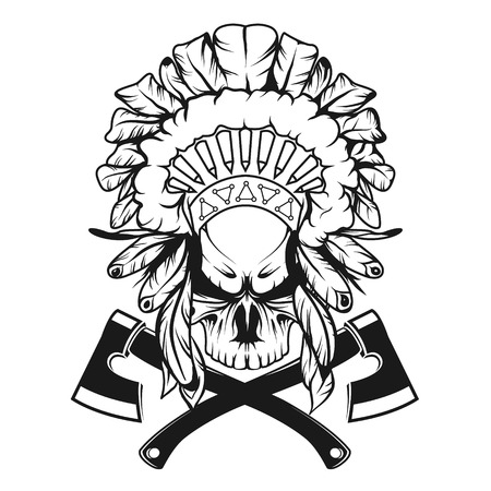 The image of Skull in Indian headdress with tomahawks.