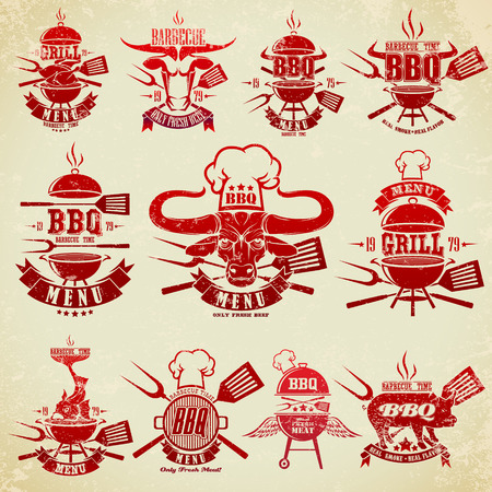 pig roast: Big set of vintage labels barbecue party