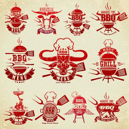 Duży zestaw etykiet archiwalne potrawy z grilla Ilustracje wektorowe