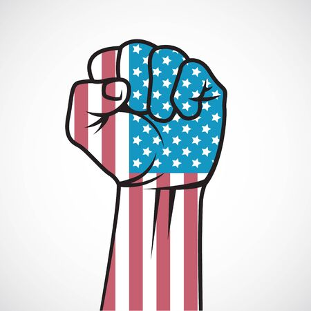 american revolution: The image of Fist with the American flag. Illustration