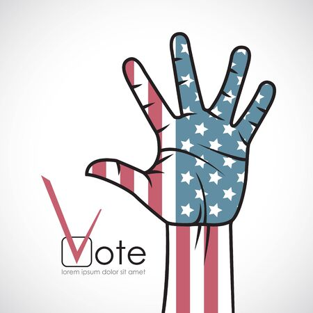 raised hand: Raised hand with the American flag. Voting.