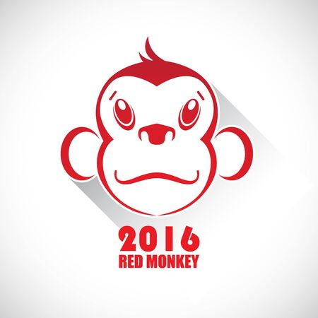 Icon red monkey. Symbol of the year.