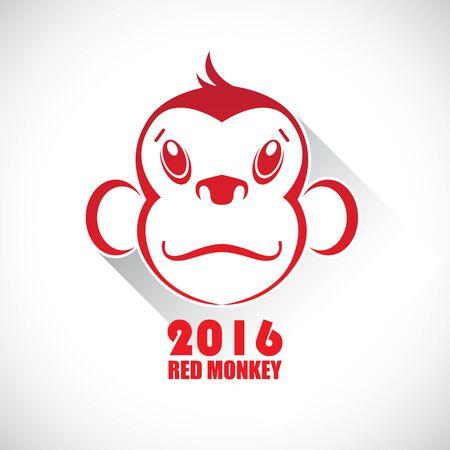 아이콘 빨간 원숭이. 올해의 상징입니다. 스톡 콘텐츠 - 47147939