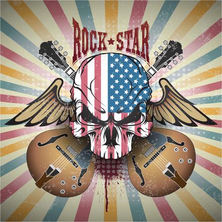 Das Bild von Kreativ Bild eines Schädels. Rockstar Standard-Bild - 47242247