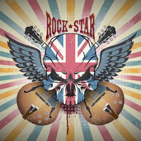 The image of Creative picture of a skull. Rock star