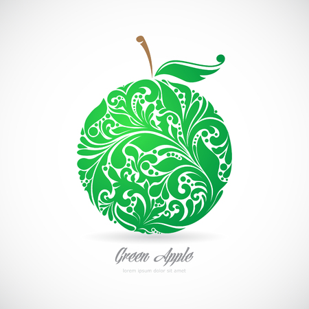Green apple in a beautiful pattern.