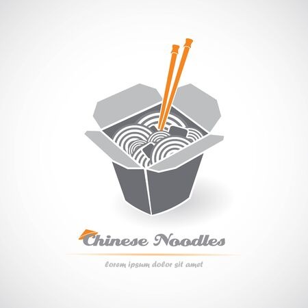 Chinese noodle in box. Vector illustration. Иллюстрация