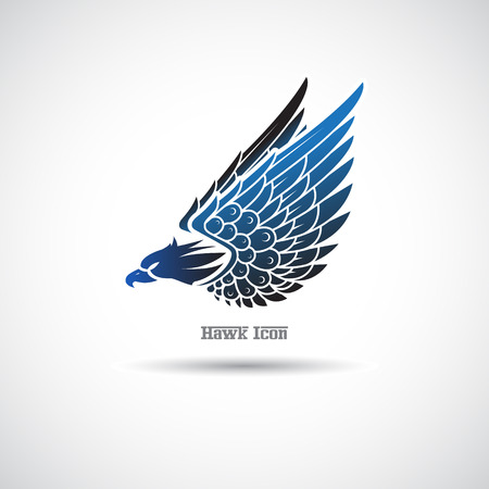 Icon with an hawk on a white background. 일러스트