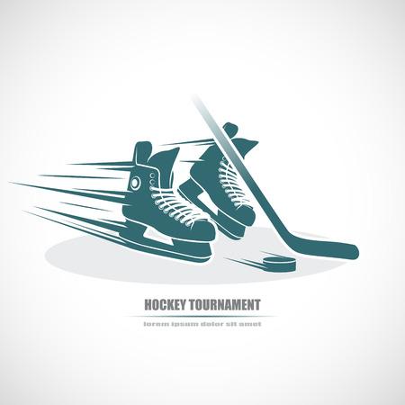puck: Hockey icon. Skates, hockey stick, puck
