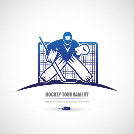 arquero: torneo de hockey icono, el portero. Vectores