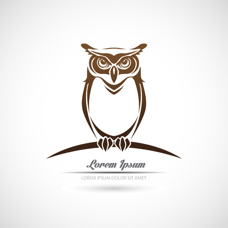 owl tattoo: Icon owl on a white background.