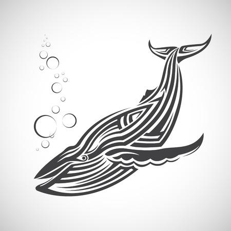 부족, 흰색 배경의 형태로 큰 고래. 스톡 콘텐츠 - 57238455