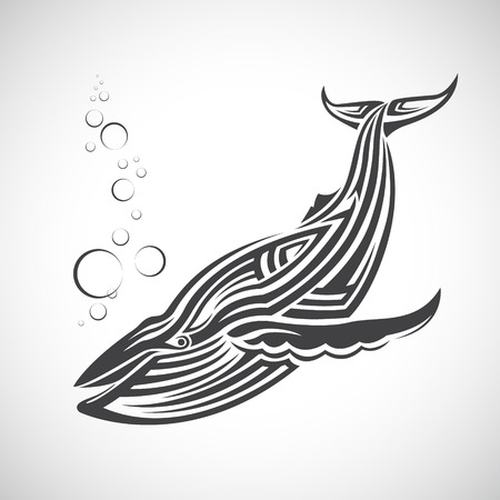 Big whale in the form of tribal, white background.