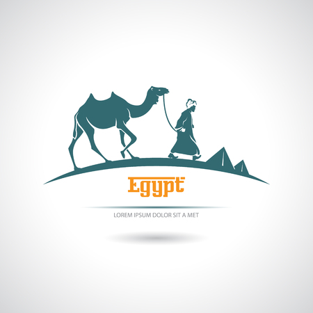 nomadic: Icon with a camel driver and camel. Egypt.